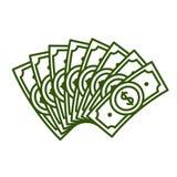Vector illustration concept of Fan dollar bills. Icon on white background. Vector illustration concept of Fan dollar bills vector illustration
