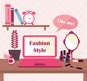 Vector illustration concept for fashionable girl. Flat design vector illustration concept of modern home or business workspace for fashionable girl Stock Photo