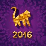 Vector illustration concept of gold polygonal monkey. Symbol of 2016 royalty free illustration