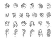 Vector illustration concept of hairstyle icon. Black on white background vector illustration