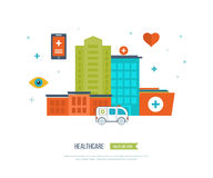 Vector illustration concept for healthcare, medical help and research. Ambulance. Royalty Free Stock Photography