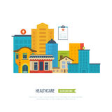 Vector illustration concept for healthcare, medical help and research. Medical center and hospital building. Vector illustration concept for healthcare, medical Royalty Free Stock Photography