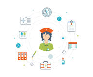 Vector illustration concept for healthcare, medical help and research. Stock Photography