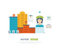 Vector illustration concept for healthcare, medical help and research. Online medical diagnosis and treatment. Medical first aid. Healthcare worker. Medical Royalty Free Stock Photos