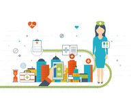 Vector illustration concept for healthcare, medical help and research. Royalty Free Stock Photos