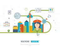 Vector illustration concept for healthcare, medical help and research. Stock Image