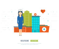 Vector illustration concept for healthcare, medical help and research. Online medical diagnosis and treatment. Medical first aid. Healthcare worker. Medical Royalty Free Stock Photo