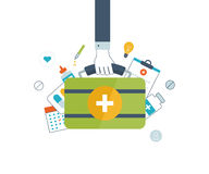 Vector illustration concept for healthcare, medical help and research. Online medical diagnosis and treatment. Medical first aid. Online medical services Royalty Free Stock Photography