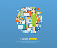 Vector illustration concept for healthcare, medical help and research. Online medical diagnosis and treatment. Medical first aid. Healthcare worker.  Hospital Royalty Free Stock Images
