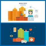 Vector illustration concept for healthcare, medical help and research. Royalty Free Stock Photo