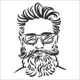 Vector illustration concept of Hipster line art illustration on white background stock illustration