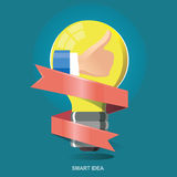 Vector illustration concept icon for thumb up, Good idea. Smart thinking. Good job. Smart Choice Stock Image
