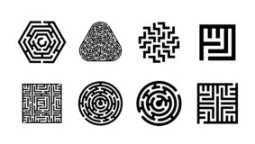Vector illustration concept of Labyrinth symbol collection. Maze icon set. stock illustration