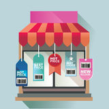 Vector illustration concept for on line store. Digital marketing. Buy on line. Mobile payment Royalty Free Stock Photos