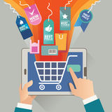 Vector illustration concept for on line store. Digital marketing. Buy on line. Mobile payment Royalty Free Stock Image