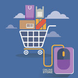 Vector illustration concept for on line store. Digital marketing. Buy on line. Mobile payment Royalty Free Stock Images
