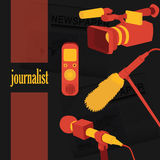 Vector illustration concept live news reports interviews Royalty Free Stock Photos