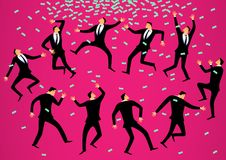 Vector illustration concept.Many businessmen dance a ritual dance to attract money. Stock Image