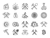 Vector illustration concept of Miner bitcoin crypto currency symbol. Black on white background stock illustration