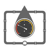 Vector illustration, concept of oil drop and manometer inside it Stock Photo