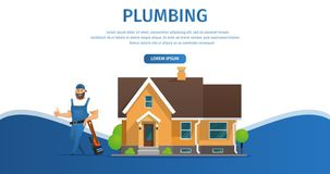 Vector Illustration Concept Page Plumber Service vector illustration