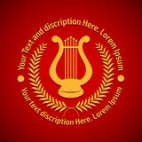 Vector illustration concept of philharmonic logo with lyre. Gold on red background royalty free illustration