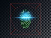 Vector illustration of the concept of scanning a fingerprint, the laser blue lighting effect. Vector element isolated on dark vector illustration