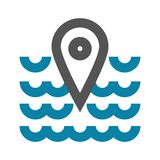 Vector illustration concept of Sea place geo mark icon. Black on white background vector illustration