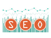 Vector illustration concept of SEO word on graph background Royalty Free Stock Image