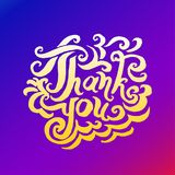 Vector illustration concept of Thank you phrase word illustration on colorful rainbow background vector illustration