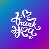 Vector illustration concept of Thank you phrase word illustration on colorful rainbow background stock illustration
