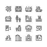 Vector illustration concept of Touristic icon set. Black on white background stock illustration