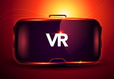 Vector illustration concept using abstract Stereoscopic 3d virtual reality glasses vr interface, digital cyberspace technology royalty free illustration