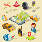 Vector illustration of the concept of using the mobile application of the global positioning system. Vector illustration of the concept using the mobile Stock Images