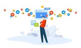 Vector illustration concept of video marketing, streaming. Creative flat design for web banner, marketing material, business presentation, online advertising royalty free illustration