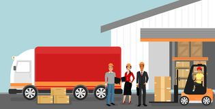 Vector illustration of concept of warehouse with workers, logistics concept. Delivery and transportation of goods vector illustration