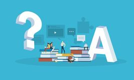 Flat design style web banner for answer to all the questions, FAQ, video tutorials, online trainings. Vector illustration concept for web design, marketing, and Royalty Free Stock Image