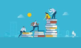 Flat design style web banner for the path to success, levels of education, staff training, specialization, learning support vector illustration