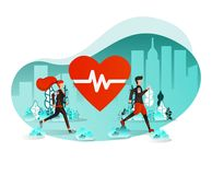 Vector Illustration Concept For Web Element, UI, Brochure, Banner. Couple Exercising Outdoor Running or Jogging in the Middle of C royalty free illustration