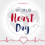 World Heart Day card, line heart in cardio pulse trace and globe Royalty Free Stock Images