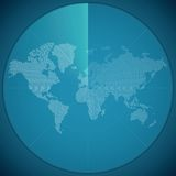 Vector illustration concept of world map on digital sonar display Royalty Free Stock Image