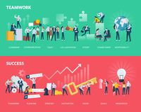 Flat design style web banners of teamwork and success. Royalty Free Stock Photography