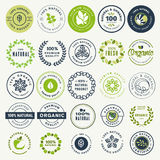 Set of stickers and badges for organic food and drink, and natural products Stock Photos