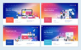 Set of creative website template designs. Vector illustration concepts for website and mobile website design and development, SEO, business apps, marketing Royalty Free Stock Images