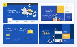 Set of creative website template designs. Vector illustration concepts for website and mobile website design and development, SEO, business apps, marketing royalty free illustration