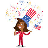 Vector illustration of confetti showering cartoon African American business woman wearing stars and stripes hat Fourth of July Royalty Free Stock Photo