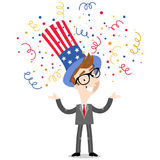 Vector illustration of confetti showering patriotic cartoon American businessman wearing stars and stripes hat Fourth of July Royalty Free Stock Images