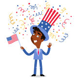 Vector illustration of confetti showering patriotic cartoon American businessman wearing stars and stripes hat July Fourth Stock Photos