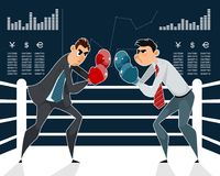 Confrontation of businessmen boxers. Vector illustration of the confrontation of businessmen boxers Royalty Free Stock Photos