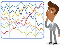 Vector illustration of a confused asian cartoon businessman looking at complicated colorful statistics. Vector illustration of a confused asian cartoon Stock Photo
